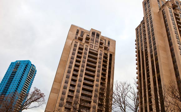 Condo towers overlooking Don Mills