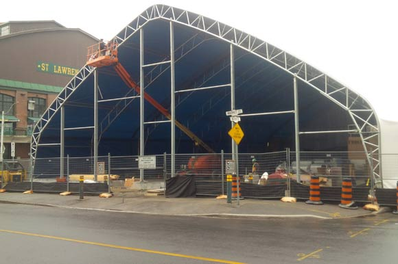 Temporary North St Lawrence Market Building Nearing Completion