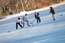 Shinny hockey at Toogood Pond in Unionville.