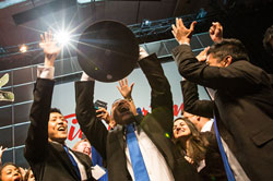 Curtis Yim, President of Enactus Ryerson, celebrating his team's victory at the 2013 National Exposition.