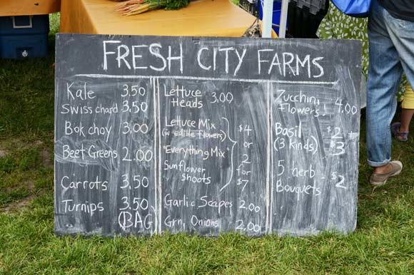 Fresh City Farms market harvest list.