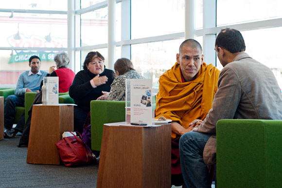 Participants engaging in the Human Library