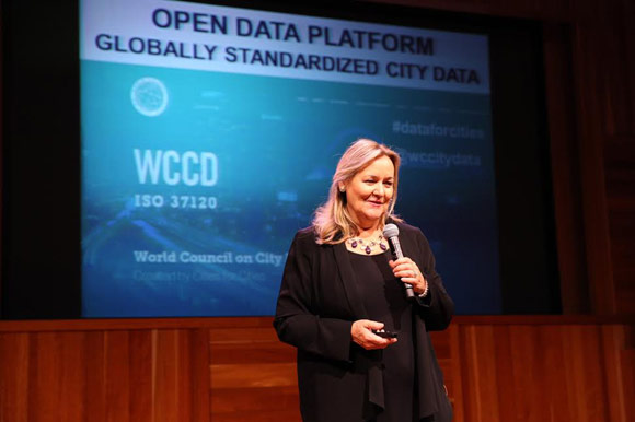 Dr Patricia McCarney, a professor at the University of Toronto, announces the launch of the World Council on City Data.