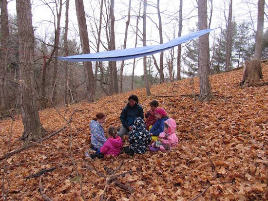 A group of young students learn about the land at the Kortright Centre.