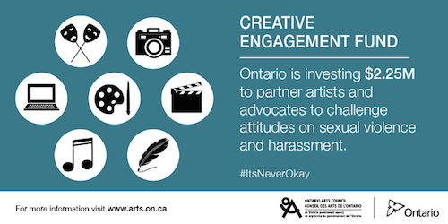 December 15 is the deadline to apply for arts funding to fight sexual violence and harassment in Ontario.