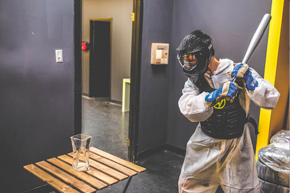A vase meets its match in Battle Sports' rage room.
