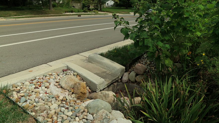 Green infrastructure can take road runoff and slow it down, cleaning and cooling it before it reaches a local waterway.