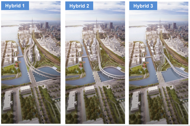 Hybrid 3 is the recommended option for redeveloping the Gardiner East