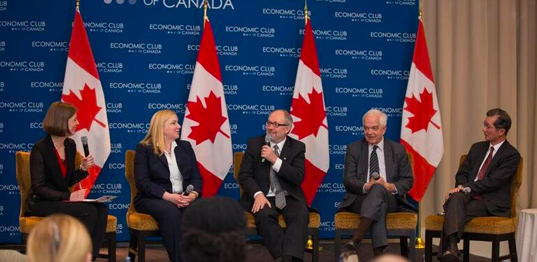 A February Economic Club panel on Syrian refugee resettlement included Danielle Bochove, Ryerson�s Wendy Cukier, Councillor Joe Mihevc, Hon. John McCallum and Hon. Michael Chan Photo credit Nadav Rosenberg