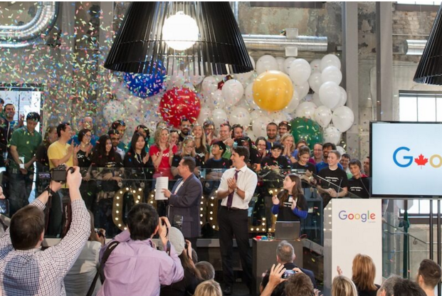 Prime Minister Justin Trudeau opens Google�s new Canadian engineering headquarters in Kitchener-Waterloo, Ontario